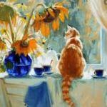 Цветы , кошки и варенье